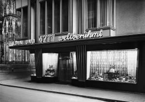 Karl Hugo Schmölz, Laden im Blau-Gold-Haus, Köln, mit Dom, 1952, Architekt Wilhelm Koep