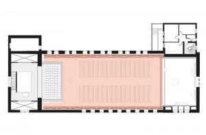 1 Kircheninnenraum gebildet durch Polycarbonatschale und kleine Tageskirche, Schnitt und Grundriss