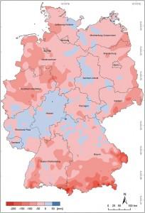 9 Verteilung der Differenzen der Niederschlagssummen 1991 / 2010 − 2031 / 2050 (Jahressummen)