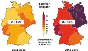 12 Räumliche Verteilung der Schadensätze und deren Änderungen im A1B-Szenarium gegenüber 1984/2008; Mittelwerte des 30-jährigen Zeitraums