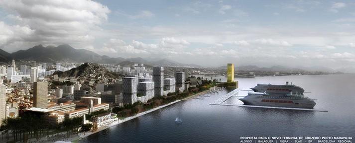 E-Pier-Entwurf der Architekten Alonso-Balaguer-Riera mit Terminal und Yachthafen, Abb.: ABR