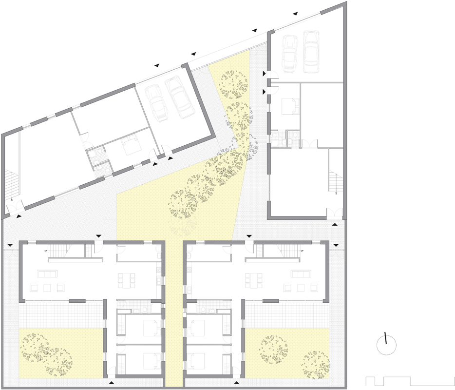 KNOWSPACE, Atelier-Häuser, Songzhuang, China 2011–2013, Grundriss EG