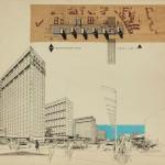 Manfred Zumpe, Hans-Peter Schmiedel, Wohn- und Gewerbekomplex Leipziger Straße, Collage, um 1968, © Manfred Zumpe/Berlinische Galerie, Repro: Markus Hawlik