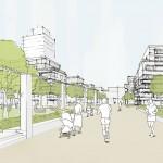 Astoc Architects and Planners, 1. Preis, Architektenwettbewerb Areal Deutsche Welle, Raderberggürtel, Köln Marienburg, Perspektive