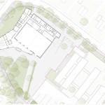 A2F Architekten, Mehrzweckhalle Mastbrook, Rendsburg 2014–2016, Grundriss und Lageplan, Abb.: A2F