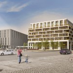 "CG-Gruppe, rechts die ""MaryAnn Apartments"", links die ehemalige Oberpostdirektion, Rendering, 2015"