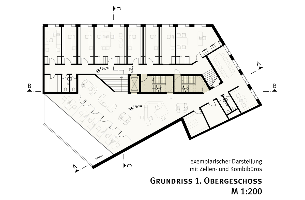 studioinges, Saladin-Eck, Darmstadt 2015 ff., Grundriss 1. OG, Abb.: studioinges