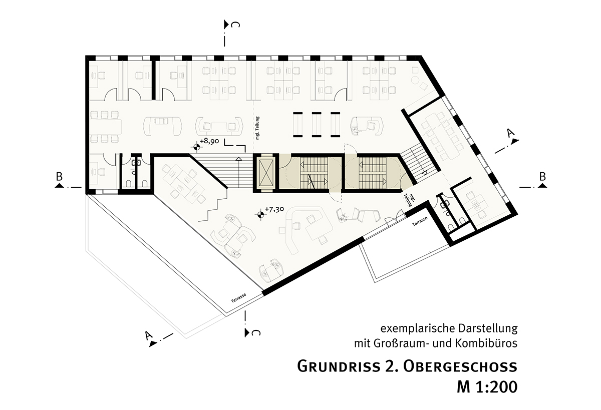 studioinges, Saladin-Eck, Darmstadt 2015 ff., Grundriss 2. OG, Abb.: studioinges