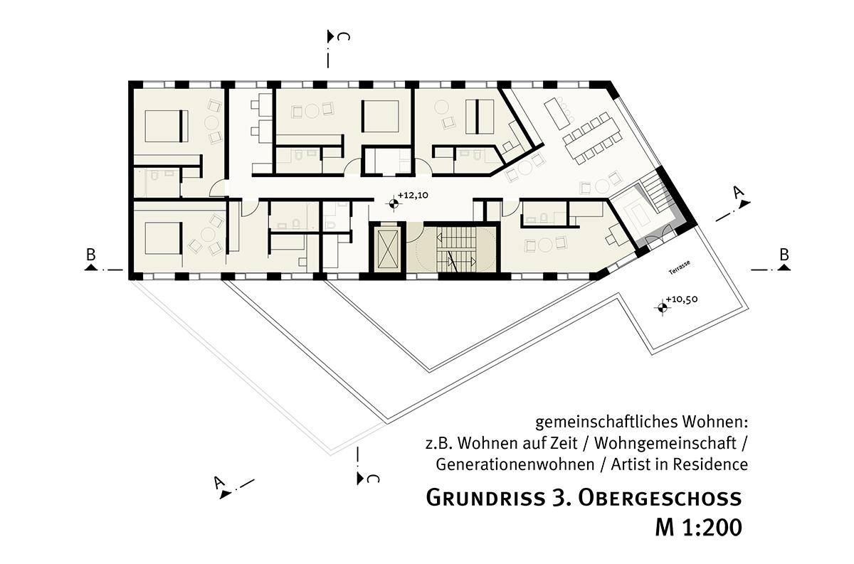 studioinges, Saladin-Eck, Darmstadt 2015 ff., Grundriss 3. OG, Abb.: studioinges