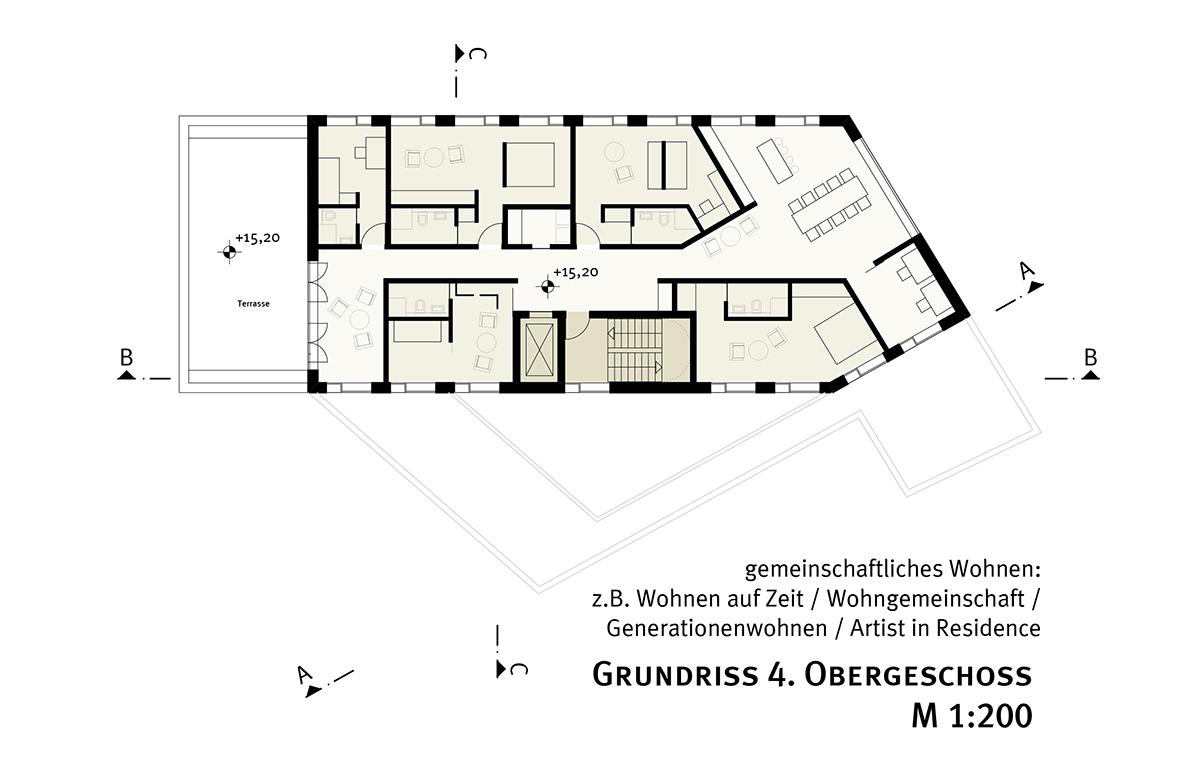 studioinges, Saladin-Eck, Darmstadt 2015 ff., Grundriss 4. OG, Abb.: studioinges