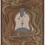 Behrens, Der Kuss, Farbholzschnitt, 1898