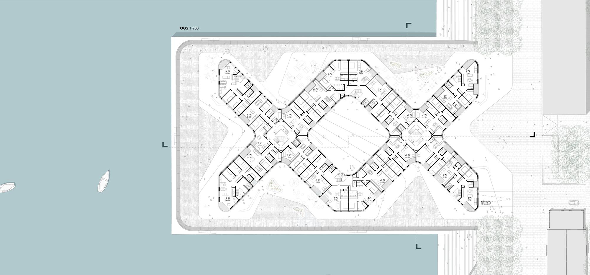 schneider schumacher und bb22 architekten doxx mainz hafenkai wettbewerb 2015 grundriss og. Black Bedroom Furniture Sets. Home Design Ideas