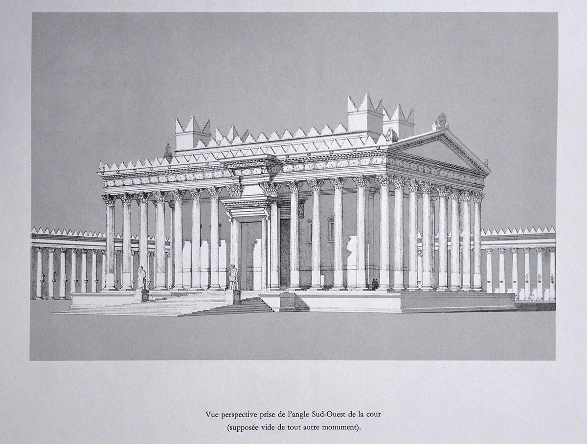 Rekonstruktion des Baal-Tempels nach Seyrig, Amy und Will, aus: Le Temple de Bel a Palmyre, Bibliothèque Archéologique et Historique, T. LXXXIII, Paris 1968. Album, S. 141