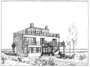 Claëson House, Falsterbo, 1924‒1927, perspective drawing by Frank © ArkDes and Svenskt Tenn, Josef Frank Archive, Stockholm
