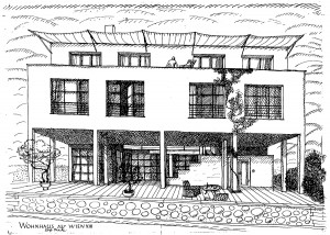 House for Vienna XIII, 1926, perspective drawing, 1926 © ArkDes and Svenskt Tenn, Josef Frank Archive, Stockholm