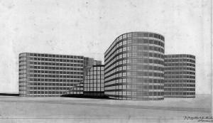 Rudolf Wolters: Wettbewerbsbeitrag zu einem Justizgebäude in Berlin, 1930, Ansicht