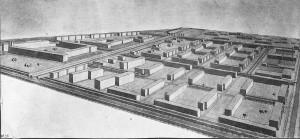 """Rudolf Wolters: Entwurf für die """"Hochschulstadt für Sibirische Eisenbahningenieure"""" (SIIT), Nowosibirsk, Perspektivzeichnung 1932"""