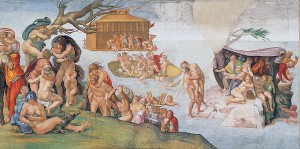 Michelangelo Buonarotti, Die Sintflut, Fresko, Vatikan, Sixtinische Kapelle, 1508–1512