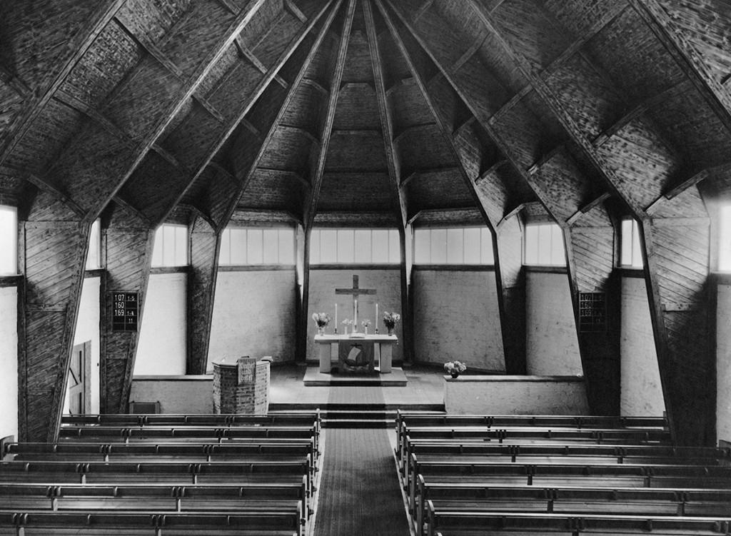 Otto Bartning, Notkirchen nach 1946, Johanneskirche,Wuppertal-Elberfeld, 1948/49, Foto: Carl Schäfer (© Archiv des Ev. Kirchenkreises Wuppertal)