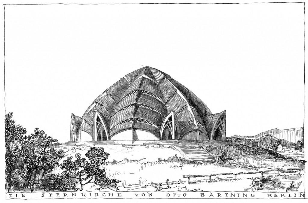 Otto Bartning Ansicht der Sternkirche, Tuschezeichnung, 1922 © Otto-Bartning-Archiv TU Darmstadt