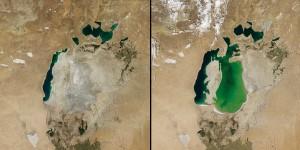Symbol des Klimawandels: Aralsee an der Grenzen von Kasachstan und Usbekistan, 2014 (links) und 2000 (rechts), Foto: NASA Earth Observatory