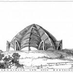 Otto Bartning, Ansicht der Sternkirche, Tuschezeichnung, 1922, Abb.: Otto-Bartning-Archiv TU Darmstadt