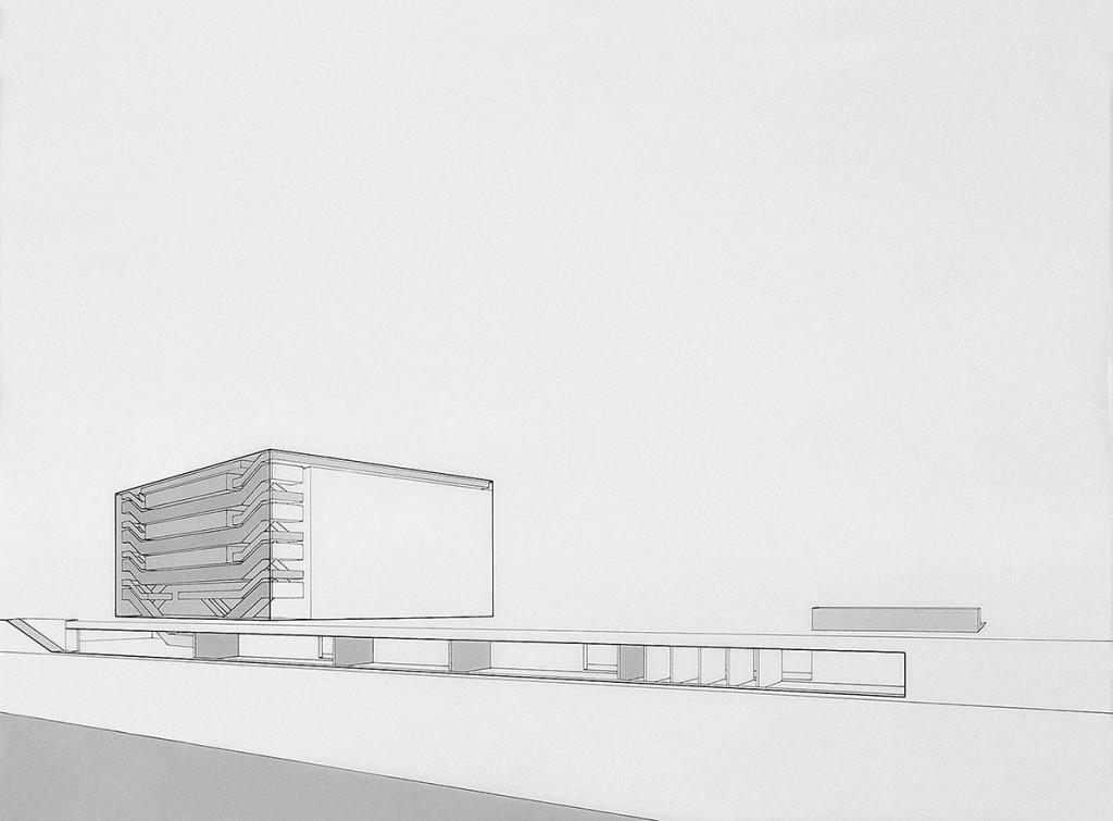 Entwurf von Verena von Beckerath und Frank Boehm für ZEIT-Wettbewerb Bauakademie 1995, ©Verena von Beckerath und Frank Boehm