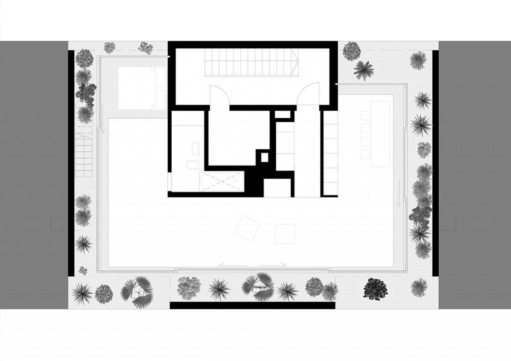 """Atelier Zafari, Dachaufstockung """"Floating Penthouse"""", Berlin 2016 – 2017, Grundriss, Abb.: Zafari"""