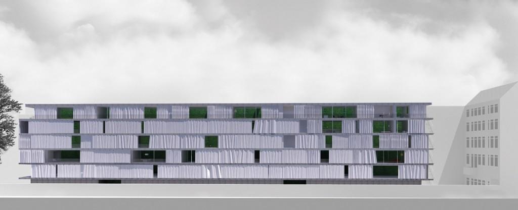 "Atelier Zafari, Wohnhaus ""Firewall"", Entwurf, Berlin 2014, Abb.: Zafari"