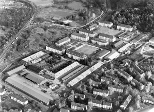 Französisches Viertel, Tübingen, um 1980, Luftbild: Manfred Grohe/Stadtsanierungsamt Tübingen