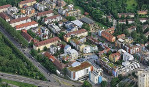 Französisches Viertel, Tübingen 1992–2008, Luftbild: Manfred Grohe/Stadtsanierungsamt Tübingen