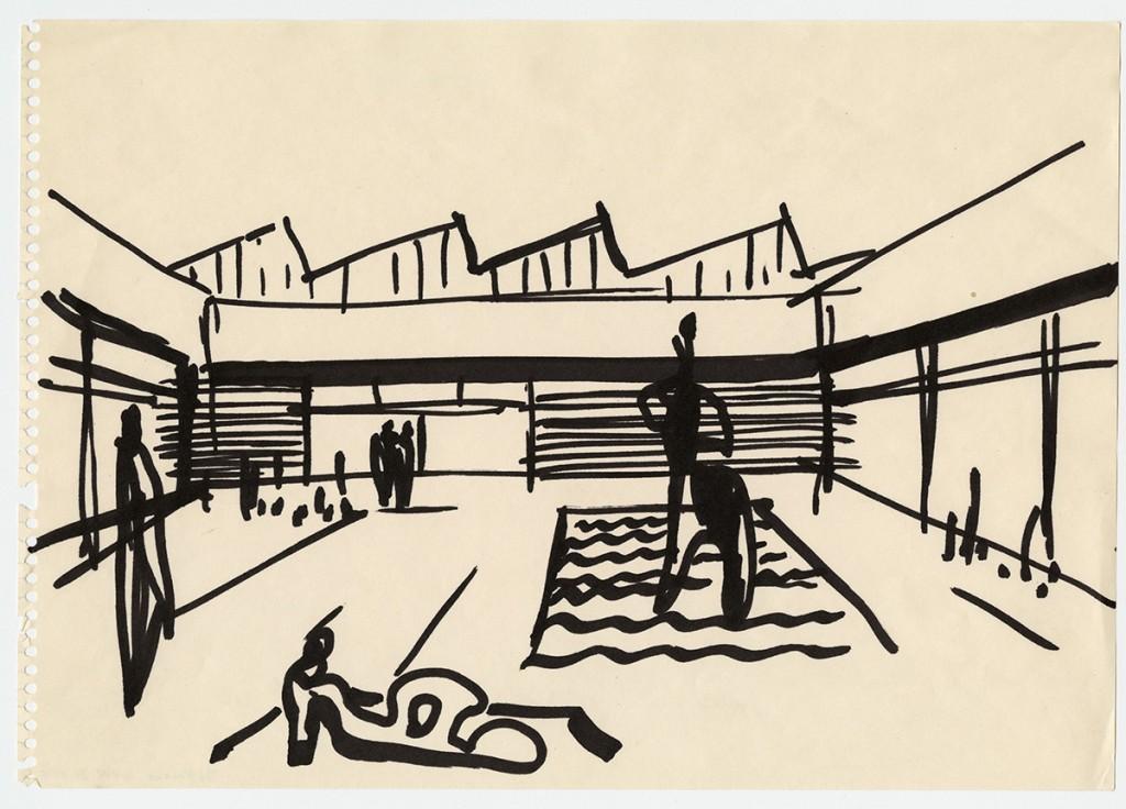 Werner Düttman, Akademie der Künste, Berlin-Tiergarten, 1958–60, Skizze, Filzstift auf PapierWerner Düttman, Academy of Arts, Berlin-Tiergarten, 1958-60, sketch, felt-tipped pen on paper[Credit: Akademie der Künste, Berlin, Werner-Düttmann-Archiv, WV 12 Pl.15]