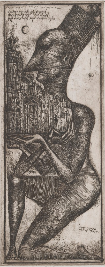 Alexander Brodsky Russian, b. 1955 Untitled (Person Holding Building), 1984 Etching and plate tone on Johannot paper Plate: 29.8 x 22.1 cm (11 3/4 x 8 11/16 inches) From the Collection of the Alvin Boyarsky Archive ©Alexander Brodsky