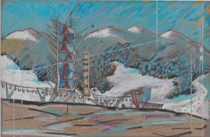Nigel Coates British, b. 1949 Ski Station, 1982 Oil pastel, pen and black ink, gold marker ink, and spattered white ink on dark gray paper (faded to brown) Image/sheet: 32.5 x 50 cm (12 13/16 x 19 11/16 inches) From the Collection of the Alvin Boyarsky Archive © Nigel Coates