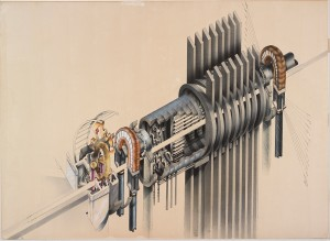 Jeremie Frank American The Macrophone, 1981 Technical pen and ink, airbrush and ink, collage and graphite underdrawing on paper board 81 x 111.4 cm (31 7/8 x 43 7/8 inches) From the Collection of the Alvin Boyarsky Archive © Jeremie Frank Zaha