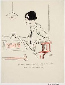"""Margarete Schütte-Lihotzky: """"Die erste Frankfurter Architektin auf dem Hochbauamt"""", Porträtzeichnung: Lino Salini"""