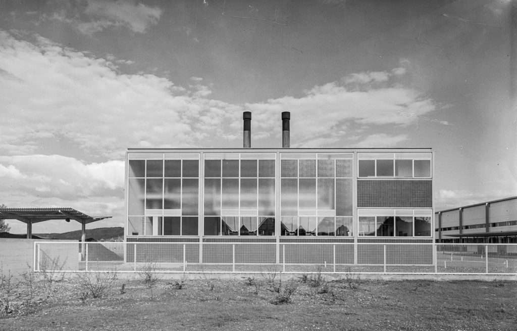 Egon Eiermann, Taschentuchweberei, Kesselhaus, Blumberg 1950, Foto: saai, Eberhard Troeger