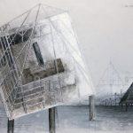 Hannsjörg Voth, Boot aus Stein, 1980, Mischtechnik auf Transparentfolie 70 x 100 cm, ©VG Bild-Kunst, Bonn 2020