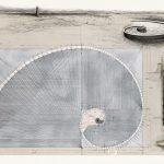 Hannsjörg Voth, Goldene Spirale, 1995, Mischtechnik auf Transparentfolie 102 x 150 cm, © VG Bild-Kunst, Bonn 2020