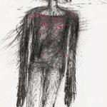 Hannsjörg Voth, ohne Titel, 2003, Kohle, Bleistift, Nagellack auf Papier 42 x 30cm, © VG Bild-Kunst, Bonn 2020