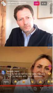 Vitra Design Museum, Live-Talk zwischen Mateo Kries und Alexandra Daisy Ginsberg, Screenshot: Instagram / YouTube