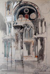 John Ruskin, Zeichnung des Markusdoms, Venedig, 1846
