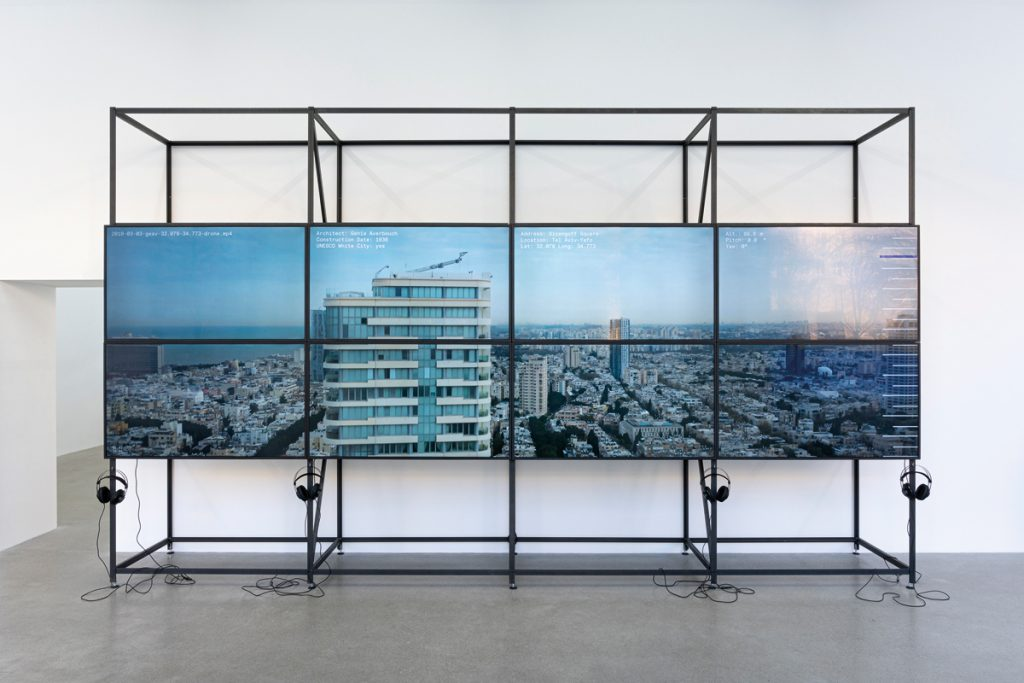 """Centre for Documentary Architecture, Ausstellung """"The Matter of Data"""", 8-Screen-Video-Installation, Foto: CDA, Ortrun Bargholz"""