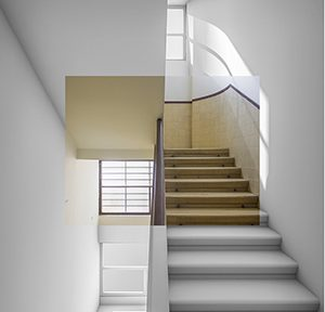 Digitale Montage des aktuellen und abstrahierten Treppenhauses des Max-Liebling-Hauses, Tel Aviv-Yaffo, Abb.: CDA, Anna Luise Schubert, Ortrun Bargholz, Eugen Happacher