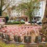 soll sasse architekten BDA, Temporäre Installationen auf dem Robert-Koch-Platz, Dortmund: Fünfhundert Meter, März 2020, Foto: Claudia Dreyße