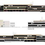 soll sasse architekten BDA (freie Arbeit für SSP AG), Fassadensanierung des Märkischen Gymnasiums Hamm, Wettbewerbsbeitrag same same but different, 1.Preis, 2015: Ost-Ansicht, Abb.: soll sasse