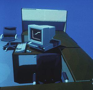 Fotografie einer CAD-Zeichnung auf dem Computerbildschirm, Sammlung Richard Junge, Abb.: Architekturmuseum der TUM