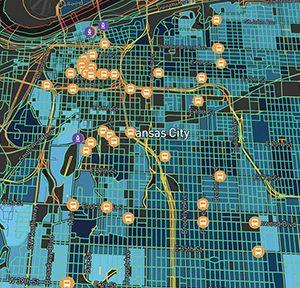 Digitale Kluft in Kansas City, Missouri, USA: Abhängigkeit der Downloadgeschwindigkeit vom Armutsniveau, Abb.: Mapbox/ OpenStreetMap