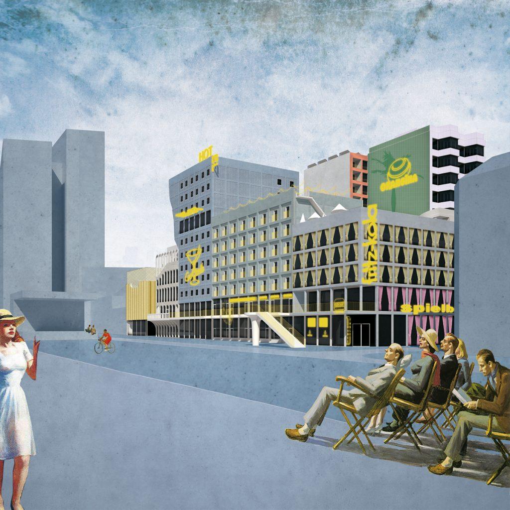 BeL Sozietät für Architektur/NL Architects, Quartier Spielbudenplatz: Hotel, Hamburg 2016–2020, Abb.: BeL/NL